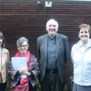 Bishop Brendan Leahy with Delegates of St. Nicholas Parish, Michele McNamara, Mary Kelly & Sr. Dympna Clancy