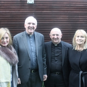 Bishop Brendan Leady with St. Johns Parish Delegates, Sharon Collopy, Fr. Noel Kirwan & Marion McDonnell